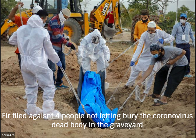 Fir filed agaisnt 4 people not letting bury the coronovirus dead body in the Bandra Kabrastan