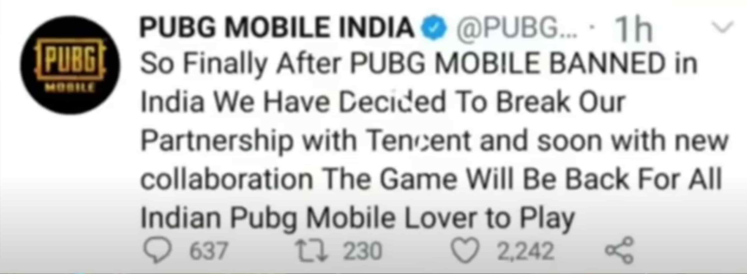 Pubg Mobiles banned removed in India? Pubg mobile India tweeted this
