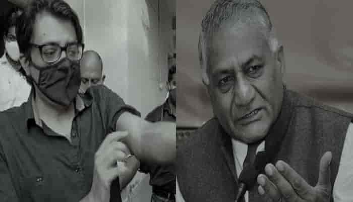 """VK Singh said """"Perhaps it may not have happened to Kasab also on Arnab Goswami"""