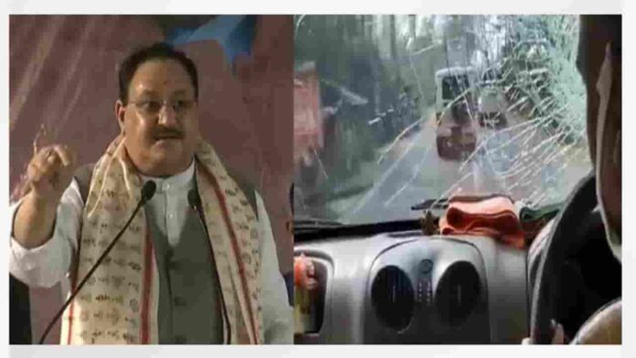 TMC workers pelted stones at BJP President JP Nadda